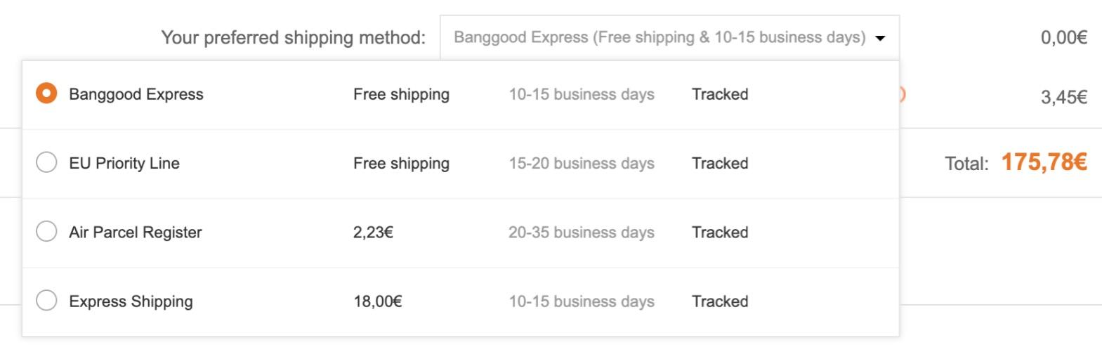 Banggood Express Shipping Method